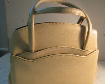 Vintage 1960's Cream PVC 'Weymouth American' Handbag - So Cute!!