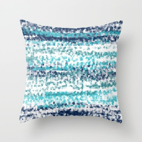 Throw Pillow Covers Teal : Throw Pillow Cover Navy Teal Aqua White A22 by HLBhomedesigns