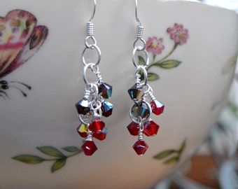 Red Two-Tone Swarovski Elements Sparkling Shimmer Wire Wrapped Earrings (Free shipping in Canada!)
