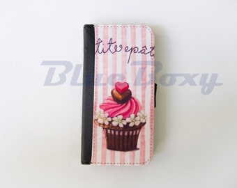 Pink Cupcake Case for iPhone X, iPhone 8, 8 Plus, iPhone 7, iPhone 6, iPhone 6s, iPhone 6 Plus, iPhone 5/5s, iPhone 4/4s, Leather Flip Case