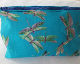 Dragonfly cosmetic bag, make-up bag,  zipper pouch