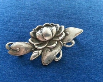Vintage Sterling Water Lily Brooch, Sterling Lotus Blossom Pin