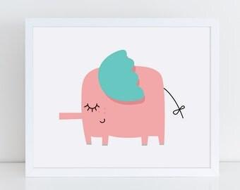 Elephant Nursery Printable Art   Wildlife Nursery Art Print   Elephant Art Print   Nursery Printable   Nursery Wall Art   Kids Printable  