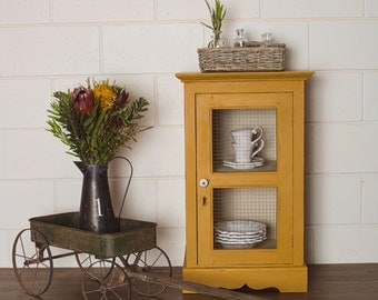 Newly Refurbished Vintage Mustard Yellow Rustic Cabinet with Key