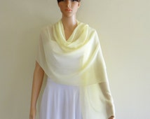Wrap Scarf. Pale Yellow Long Scarf.