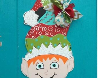 Christmas Elf door hanger, christmas door decor, christmas wreath,
