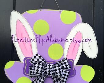Easter Bunny Wooden Door HangerEaster WreathMad Hatter Hangerbunny