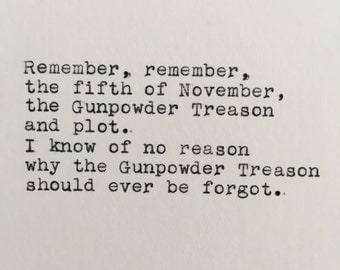 V for Vendetta Fifth of November Quote Typed on Typewriter - 4x6 White Cardstock