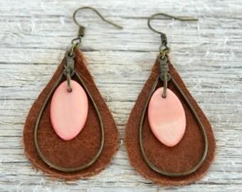 Leather Teardrop Earrings - Pink Shell Earrings - Bohemian Earrings - Genuine Leather - Leather Jewelry - Bohemian Jewelry-Teardrop Earrings