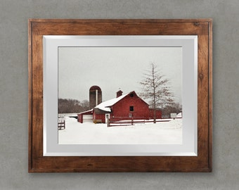 The Red Bard: New England Farm, Winter, Snow, Red, Country Home Decor