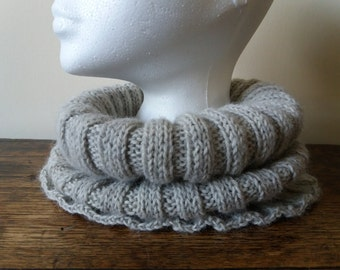 Hand knitted Alpaca Cowl - Light Grey