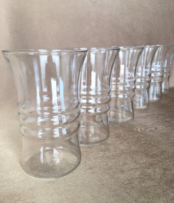 Anchor Hocking Clear Glass Tumblers Ribbed Center Flared