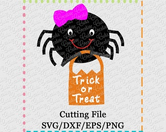EXCLUSIVE SVG eps  DXF Halloween spider svg, Halloween svg, spider svg, girl spider svg, eek spider svg, trick or treat svg, girl bow svg