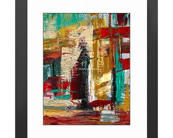San Francisco Street Art Print. Abstract Art, Modern Art, Abstract Painting, Knife Painting, Home Decor, Stripes, Turquoise
