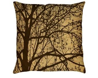 Ljubljana Weeping Printed Throw Pillow. Cushion Cover, Apartment Dorm Decor, Sofa Cushion, Branches, Silhouette, Rustic Throw Pillow, Brown