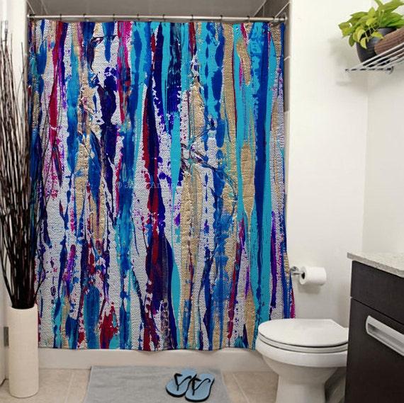 Silver Streak Printed Shower Curtain Bathroom Decor Abstract