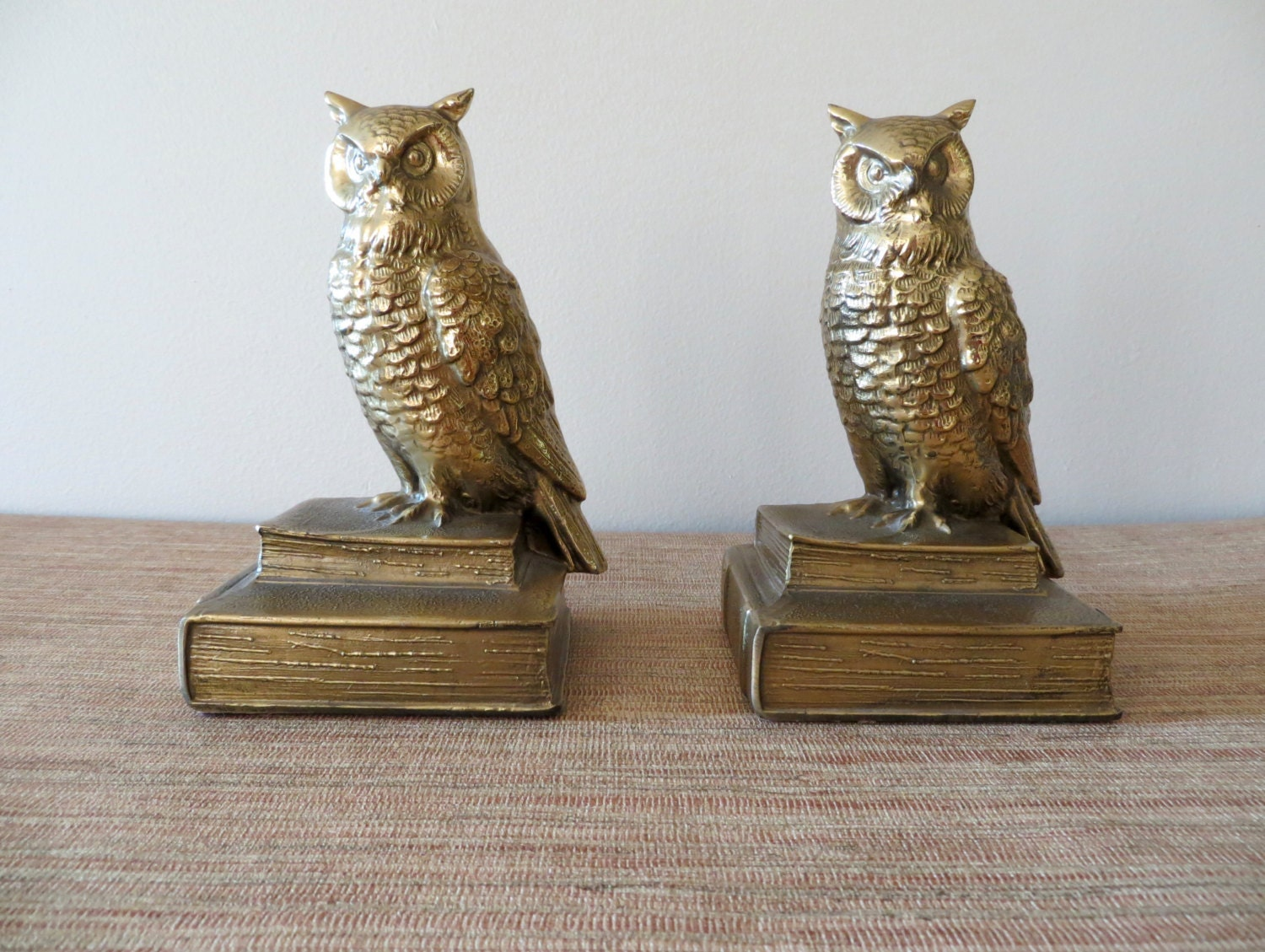 Vintage brass owl bookends pair - Antique brass bookends ...