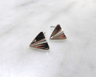 Tiny Paper Plane Stud Earrings in Gold or Silver