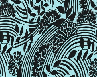 Jersey - flowers and patterns - turquoise