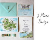3 Piece Custom Design  - watercolor wedding suite - custom wedding suite - wedding invite + rsvp + custom map or itinerary + envelopes