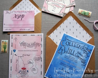 Custom Wedding Invitation Suite - Wedding Invites - Watercolor Invitations - Personalized Wedding Invitations - RSVP - Wedding Map