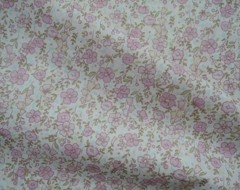 "Fat Quarter of Yuwa Live Life Collection Pastel Pink Floral Lawn Fabric on Off White Background.  Approx. 18"" x 22"" Made in Japan"
