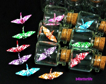 Lot Of 24pcs 1-inch Hand-folded Paper Crane In Clear Glass Mini Bottle With Cork. (MD paper series). #CIB24.