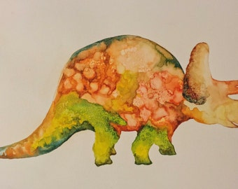 Watercolor Triceratops