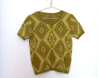 70s Olive monotone navajo pattern short sleeve sweater top Small/Med