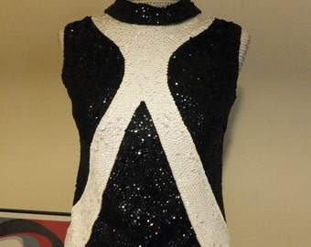 Vintage Black and White Sequin Top