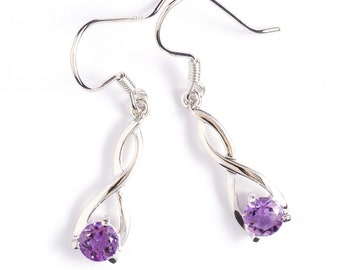 Sterling Silver Amethyst Twist Drop Earrings, Amethyst Drop, Purple Amethyst Earrings, Amethyst Jewelry, February Birthstone