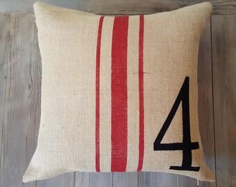 Grain sack pillow cover , Burlap Pillow Cover , Feed Sack Pillow , Number pillow , Rustic pillow , Typography pillow , Boys room decor