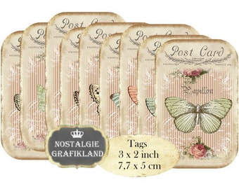 Butterfly Shabby Chic Papillon Tags Butterflies Instant Download digital collage sheet T122