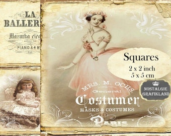 French Ballerina Squares 2x2 inch squares Instant Download digital collage sheet TW158 ballet