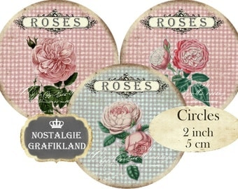 Shabby Chic French Roses Flowers Fleurs Circles 2 inch Instant Download printable digital collage sheet C218