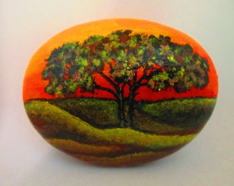 "Painted rock ""Tree with Sunset"""