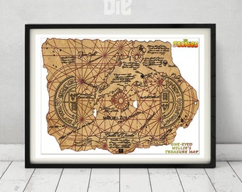 The Goonies Treasure Map Print One-Eyed Willie Chunk Data Mikey Mouth Sloth 80's Gift for Him Never Say Die Truffle Shuffle