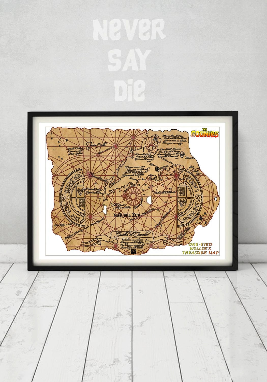 the goonies treasure map print one eyed willie chunk data