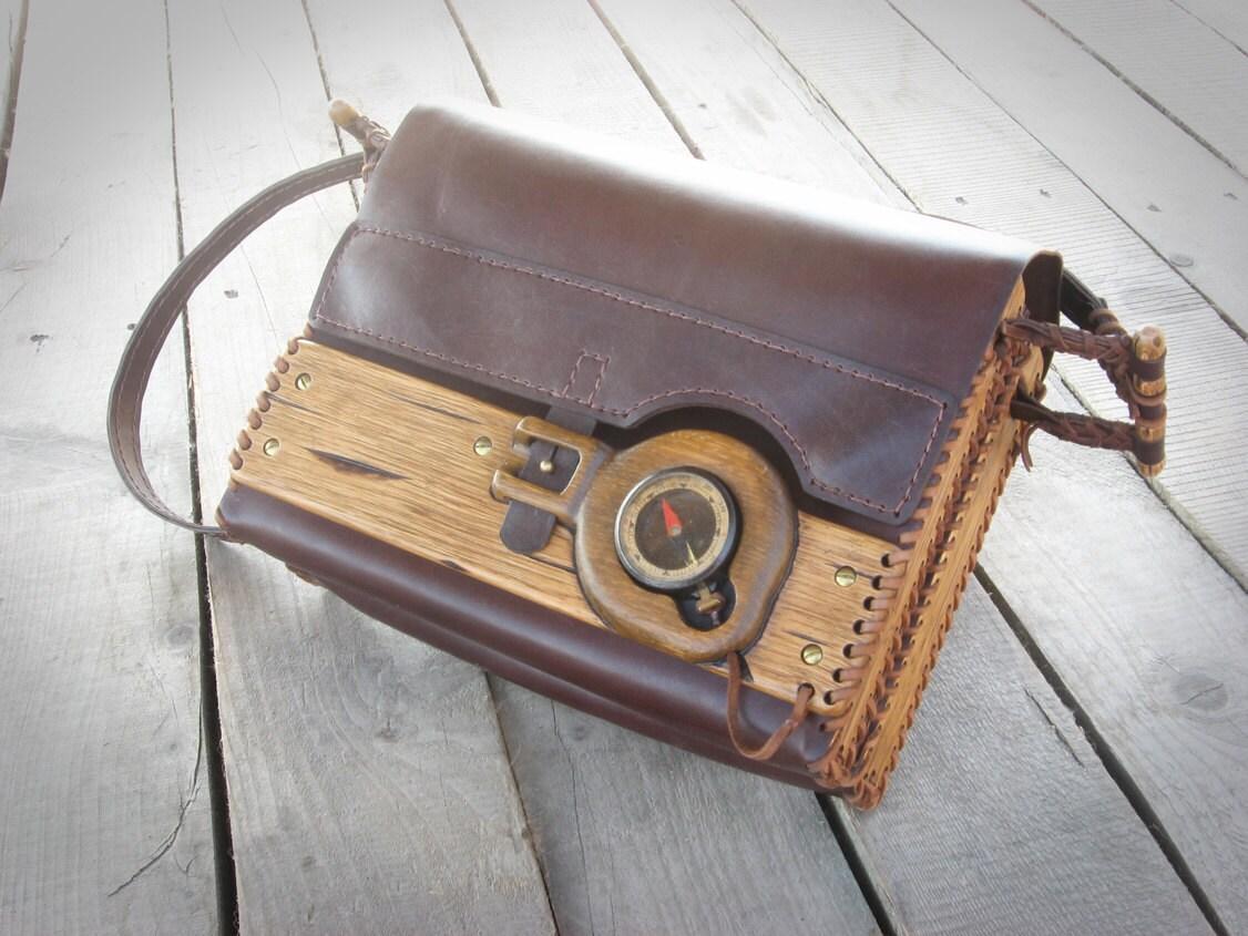 Unique handmade leather wood shoulder bag with an antique