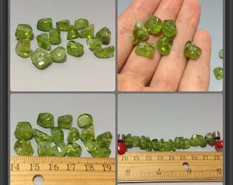 Olivine beads- 15 pieces