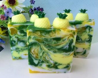 Pineapple Soap - Pineapple Cilantro Soap - Glycerin Soap - Pineapple Gift - Pineapple Favor - Pineapple Novelty Gift - Pineapple Soap Favor