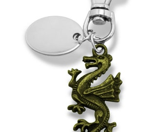 Custom engraved / personalised Dragon keyring keychain in gift pouch - PL211