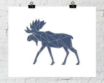 Navy Wall Print, Moose Art, Wall Art Print, Geometric Animal Art, Moose Wall Prints, Antler Print Art, Moose Artwork. Adoption Fundraiser.