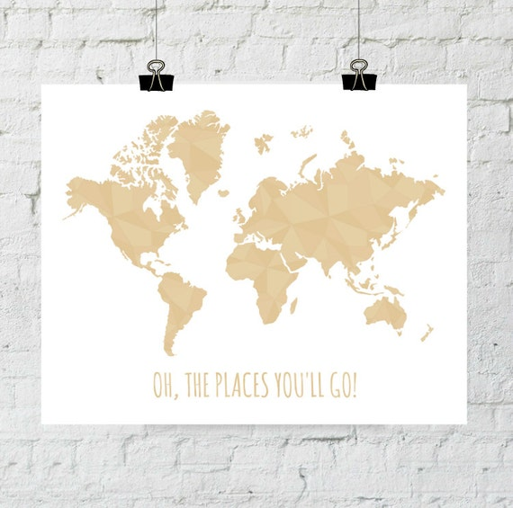 World Map Printable Art, Oh The Places You'll Go, Geometric Travel Print, Nursery, World Map Silhouette Print, Inspirational Dr Seuss Quote