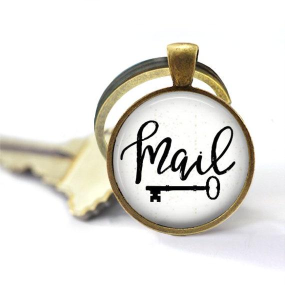 Mail Key, Handmade Keychain, Mail Key Holder, Key Chain, Mail Keychain, Mail Key Organizer, Skeleton Key, Envelopes, Vintage Brass, Bronze