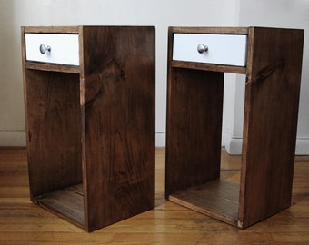 Pair of Nightstands, Set of 2 Side Tables, End Tables made from Reclaimed Wood with color drawer made with plywood- Walnut