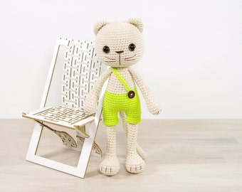 PATTERN: Long-Legged Cat in Shorts - Amigurumi cat - Crochet tutorial with photos (EN-059)