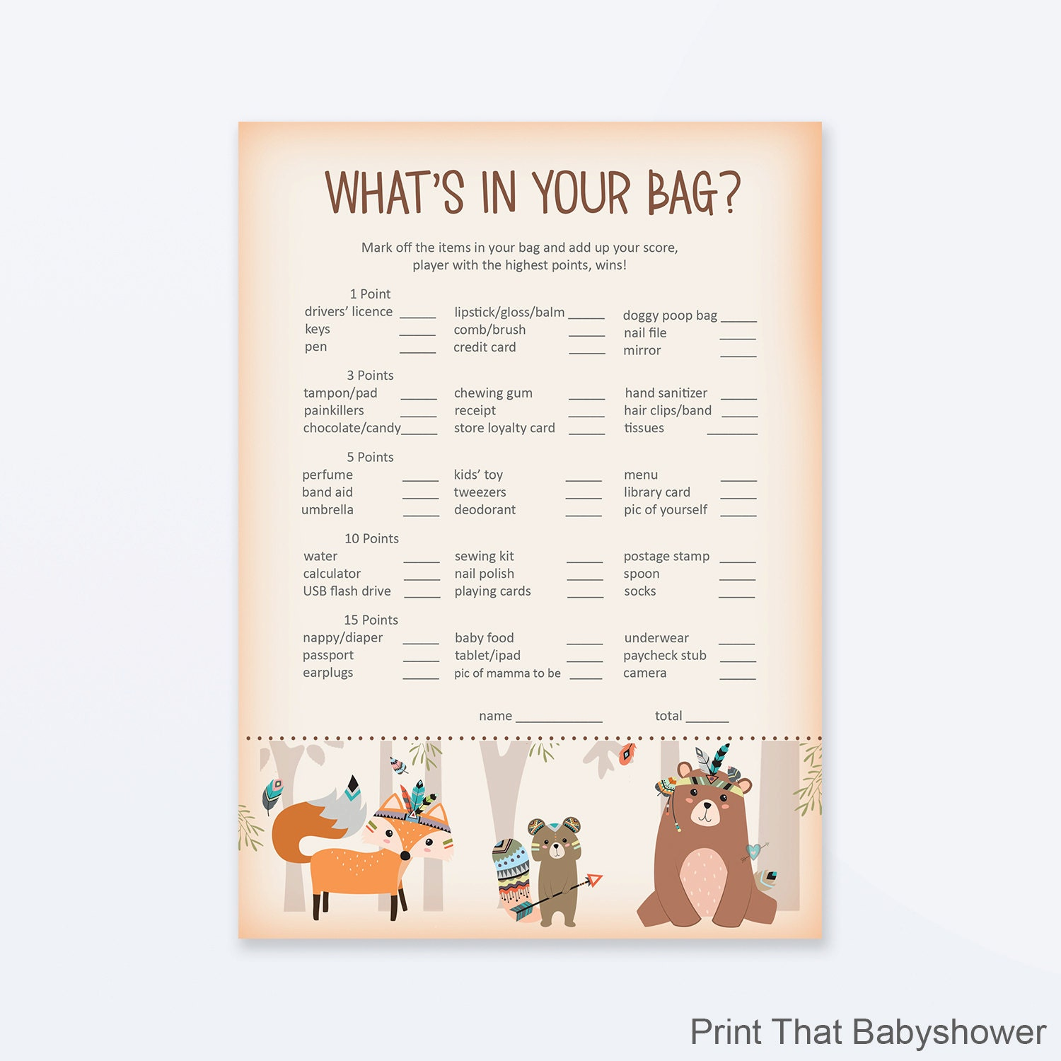 Captivating Baby Shower Games   Whatu0027s In Your Purse Game?   Woodland Baby Shower    Woodland Shower Games   Shower Games   Tribal Woodland