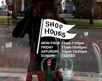 Flag business hours window decal/ Decal for shop,restaurant,office