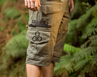 Touching Sounds Shorts (Olive Green) - Men  Loose Shorts Pants Goa Stylish Psytrance Thick Fabric Party Comfortable